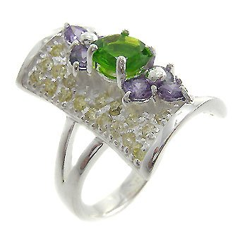 925 Sterling Silver With Multi Color Stone Ring size 6