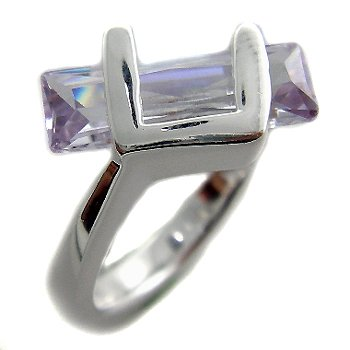 925 Sterling Silver With Tanzanite CZ Ring size 6