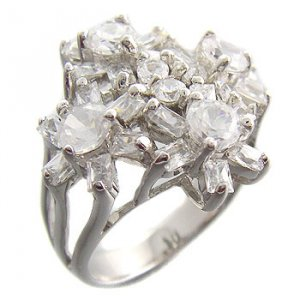 925 Sterling Silver With White CZ Ring with flowers size 7