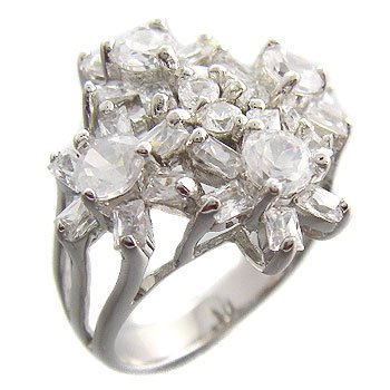 925 Sterling Silver With White CZ Ring with flowers size 8