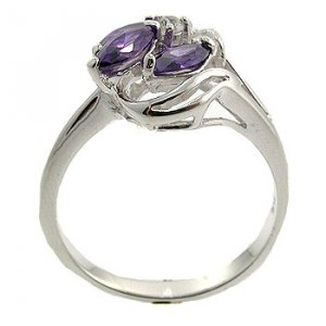 Amethyst CZ & White CZ With  925  Sterling  Silver Ring size 7