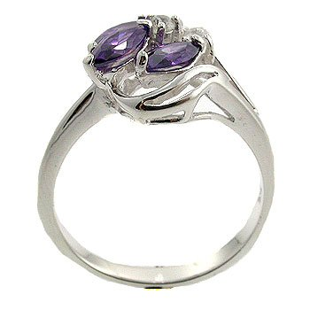 Amethyst CZ & White CZ With  925  Sterling  Silver Ring size 9