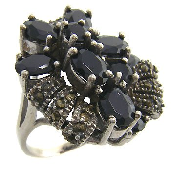 925 sterling silver ring with black cz and marcasite size 7