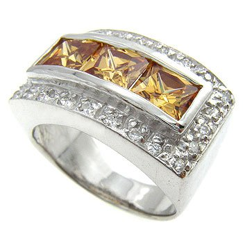 Champagne , White CZ  With  925  Sterling  Silver Ring size 6