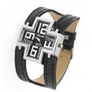 Black cross design leather quartz watch