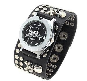 Black scull rivet leather band watch