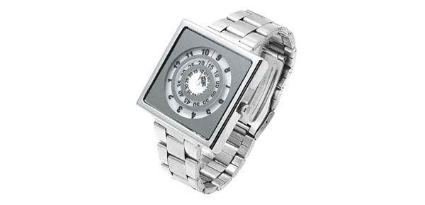 Square design metallic metal band silver tone watch