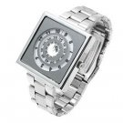 Square design metallic metal band silver tone watch