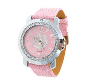 Exquisite Sexy Pink leather strap Quartz Wristwatch with crystals