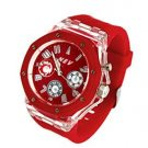 Casual red sports watch, cool style with backlights chronograph style