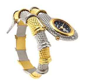 Snake style watch with gold and silver tone bangle with crystal eyes