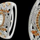 Carved Flower Rhinestone Elliptic Bracelet Dress Watch Free Shipping