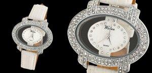 Rhinestone Ladies Oval Wrist Watch White Leather Strap Free Shipping