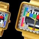 Golden Men's Metal Wrist Watch with TV Test Pattern