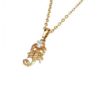 Beautiful 18K Gold Plated CZ Cubic Zirconia Necklace with scorpio Free Shipping
