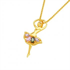 Beautiful 18K Gold Plated CZ Cubic Zirconia Necklace with dancer Free Shipping