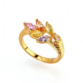 Beautiful 18K Gold Plated CZ Cubic Zirconia Ring Size 7 Free Shipping