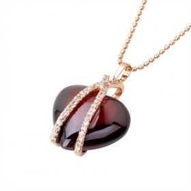 Beautiful 18K Gold Plated CZ Red Cubic Zirconia Necklace Free Shippping