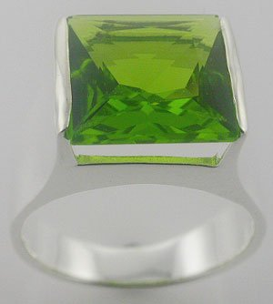 Free Shipping CREATED PERIDOT Sterling 925 Silver Mens RING size 9