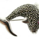 Free Shipping GENUINE SWISS MARCASITE & RUBY STERLING 925 SILVER DOLPHIN BROOCH