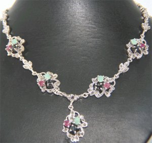 Free Shipping Genuine Swiss Marcasite Necklace set with Genuine Ruby, emerald sapphire.18 inch Long