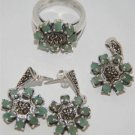 Free Shipping 925 Silver Marcasite Ring, Earring&Pendant  with Genuine Emerald 1 Set