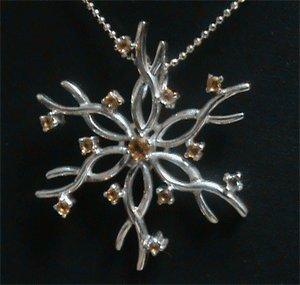 Free Shipping GENUINE Citrine STERLING 925 SILVER snowflake flower pendant