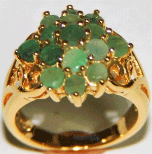 Free Shipping 925 Silver Ring With Genuine Emerald Stone
