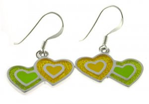 Free Shipping Inlay Silver With Green, Yellow Enamel Earring