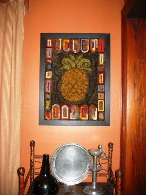 Hooked Rug - Framed - Pineapple