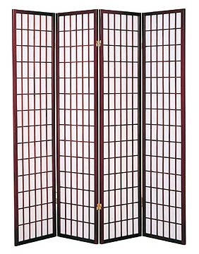 4 Panel Shoji Room Divider Cherry
