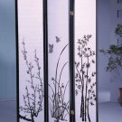 3 Panel Floral Design Room Divider Black