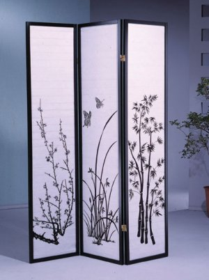 3 Panel Floral Design Room Divider Black