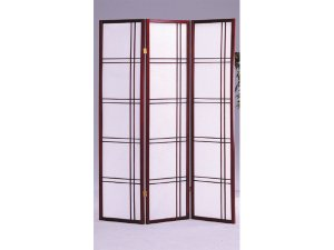 3 Panel Geometric  Shoji Room Divider Cherry