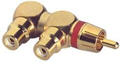 Gold RCA Y (1) Male To (2) Right Angle Female Red