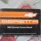 Owner's Manual Chevy Beretta 1989