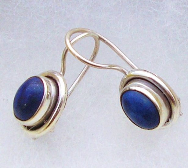Solid silver blue lapis lazuli earrings new