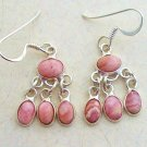Silver rhodochrosite dangly earrings