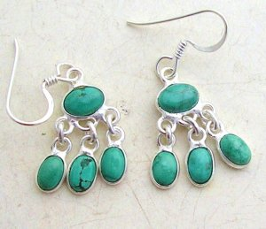 Silver turquoise dangly earrings
