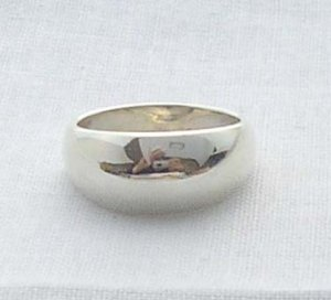 Solid silver dome ring, size 8, new