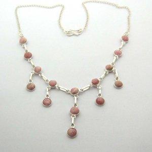 Silver rhodochrosite cabochon necklace chain, new