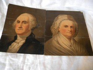 Strobridge Middleton Chromolithographed Oil Portraits of George & Martha Washington 1860s