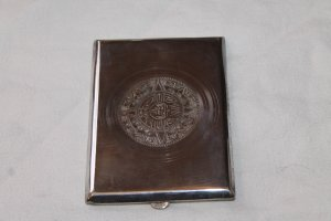 Antique Sterling Silver 925 Mexico Aztec Cigarette Case