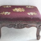 French Needlepoint Carved Wood Cabriole Legs Foot Stool