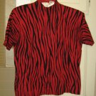 Zebra Pattern Red & Black Short Sleeve Silk Sweater!!