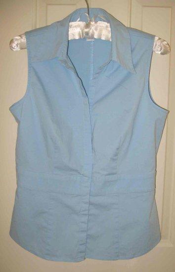 ANN TAYLOR Loft Light Blue Cotton Sleeveless Shirt Sz 4
