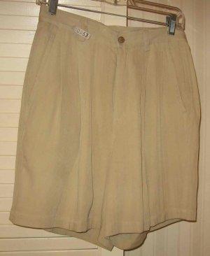 ISLAND REPUBLIC 100% SILK Khaki Shorts Sz 6 Beautiful!!