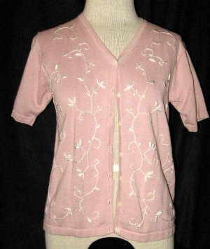 DRESS BARN Pink Cotton Sweater w/flowers Size Small !!