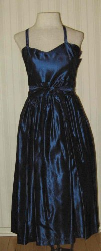 Vintage LAURA ASHLEY Blue Taffeta Dress Spagetti straps