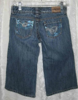 ROXY Girls Long Denim Shorts/Jeans Painted Flowers S 12
